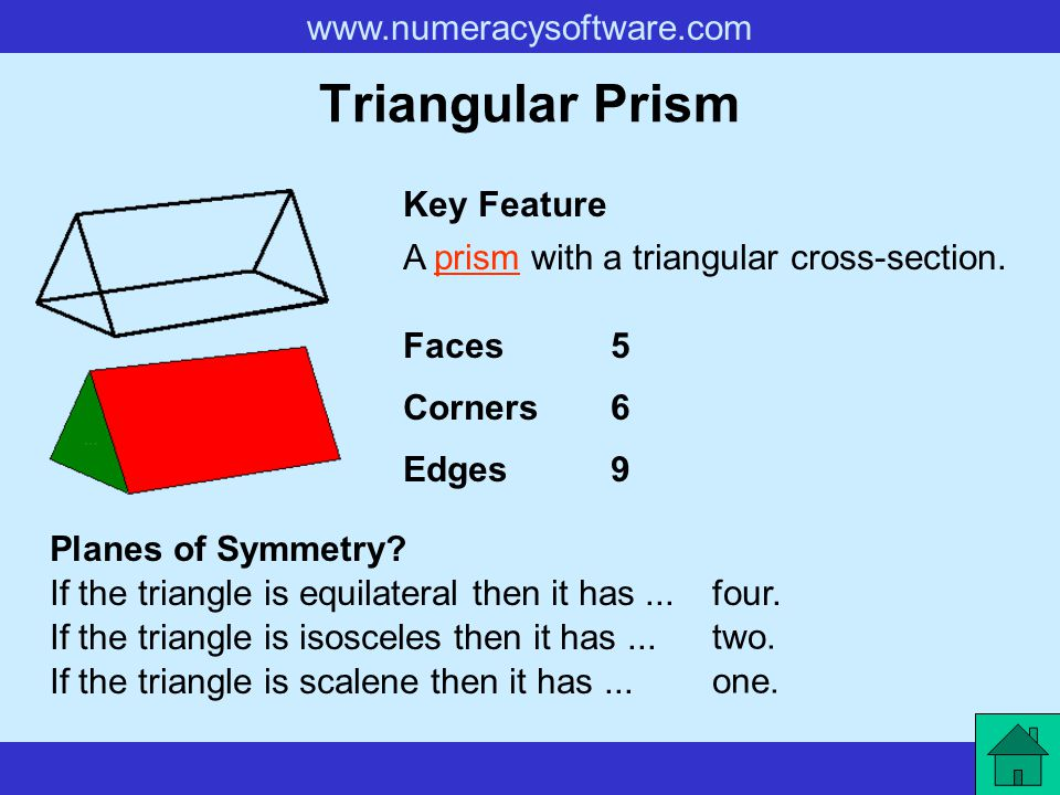 Triangular Prism Key Feature A prism with a triangular cross-section.