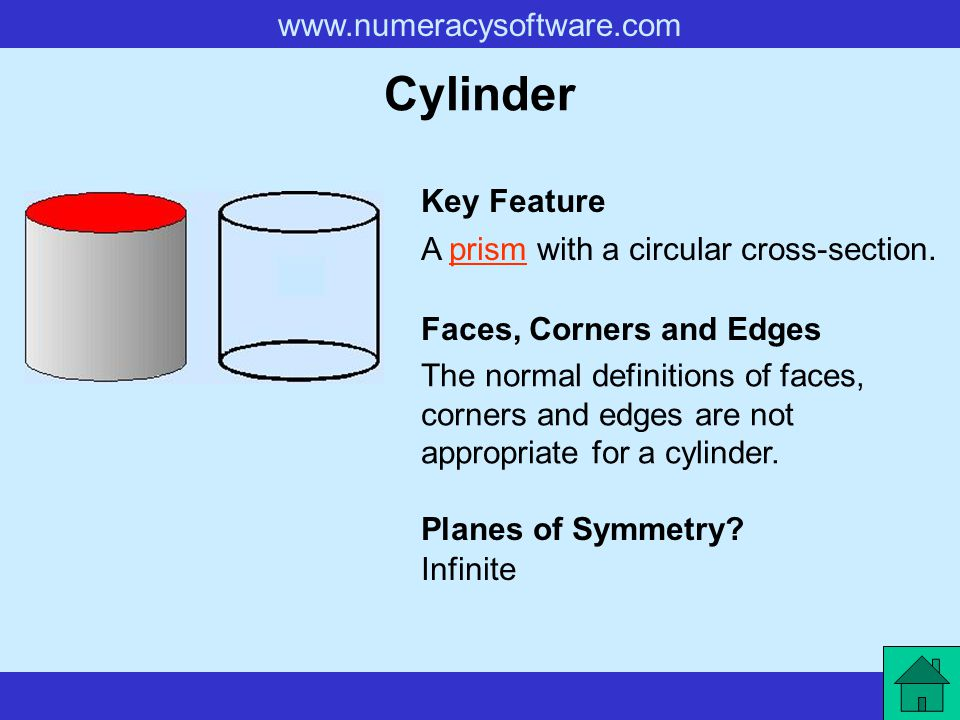 Cylinder Key Feature A prism with a circular cross-section.