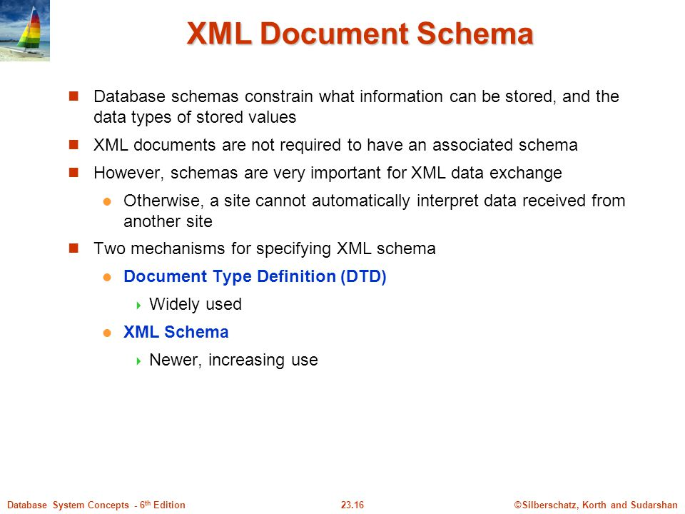 XML Document Schema Database schemas constrain what information can be stored, and the data types of stored values.