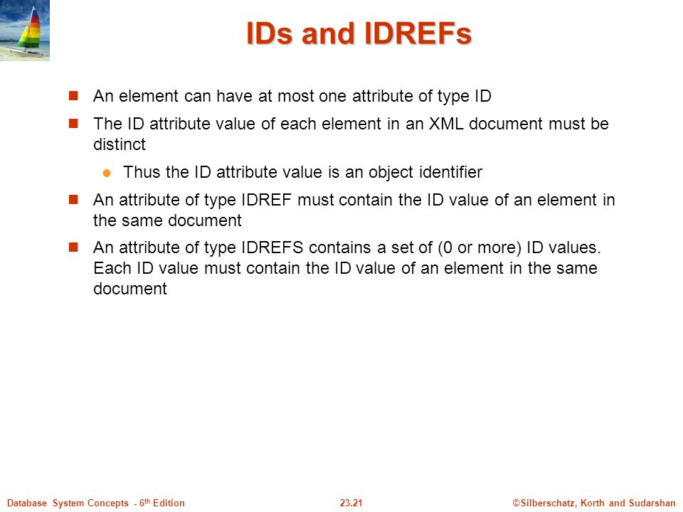 IDs and IDREFs An element can have at most one attribute of type ID