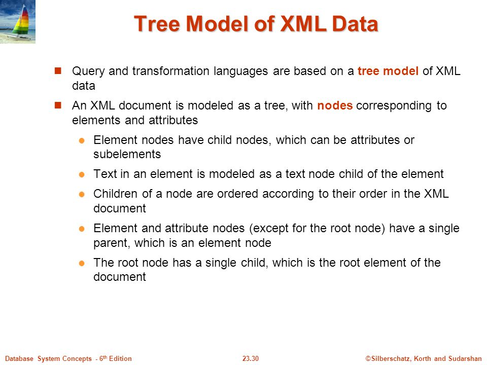 Tree Model of XML Data Query and transformation languages are based on a tree model of XML data.