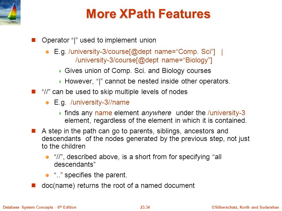More XPath Features Operator | used to implement union