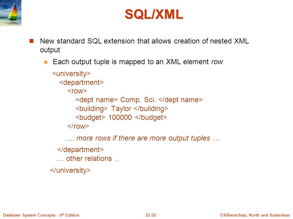 SQL/XML New standard SQL extension that allows creation of nested XML output. Each output tuple is mapped to an XML element row.
