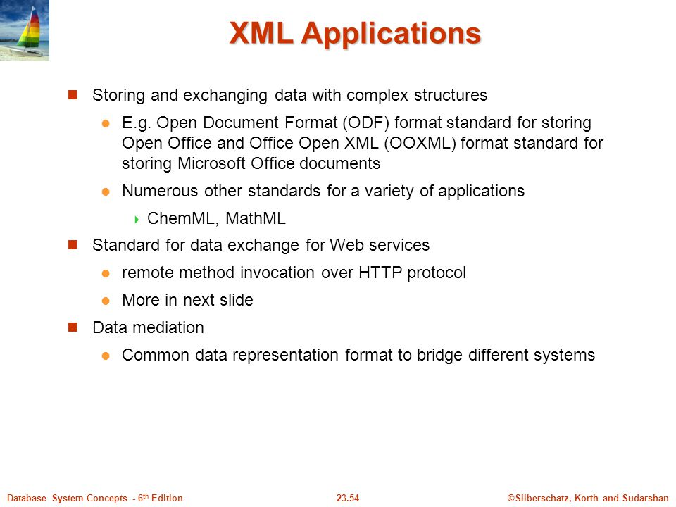 XML Applications Storing and exchanging data with complex structures