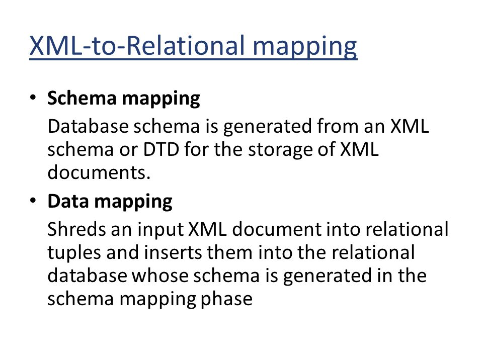 XML-to-Relational mapping