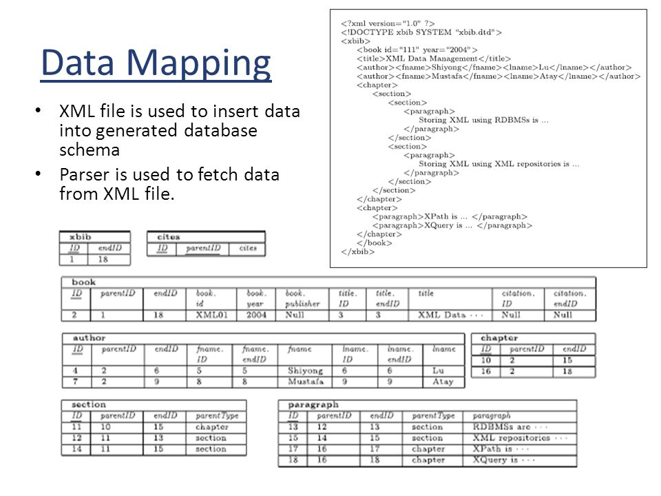 Data Mapping XML file is used to insert data into generated database schema.