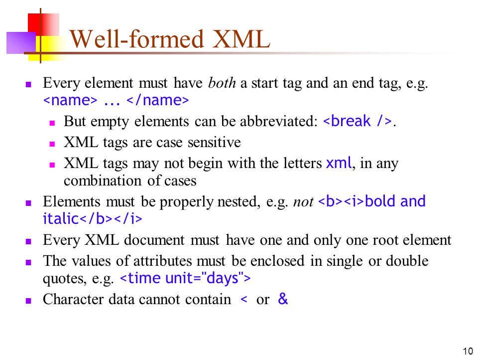 Well-formed XML Every element must have both a start tag and an end tag, e.g. <name> ... </name> But empty elements can be abbreviated: <break />.