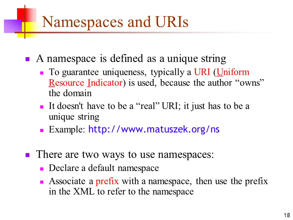 Namespaces and URIs A namespace is defined as a unique string