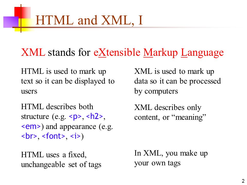 HTML and XML, I XML stands for eXtensible Markup Language