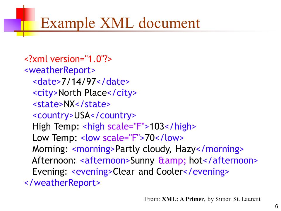 Example XML document < xml version= 1.0 > <weatherReport>