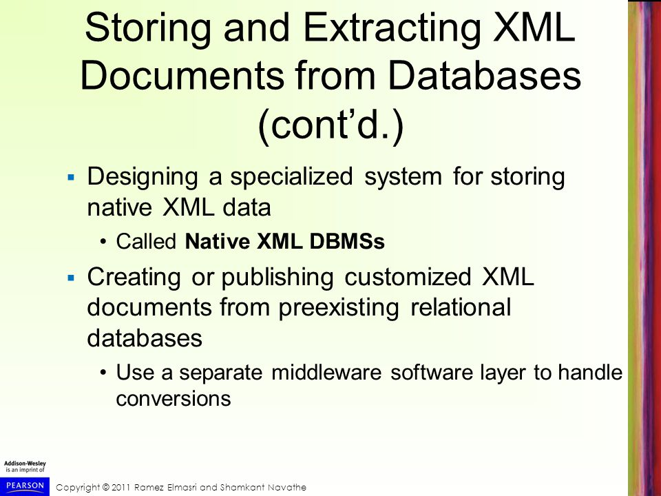 Storing and Extracting XML Documents from Databases (cont'd.)
