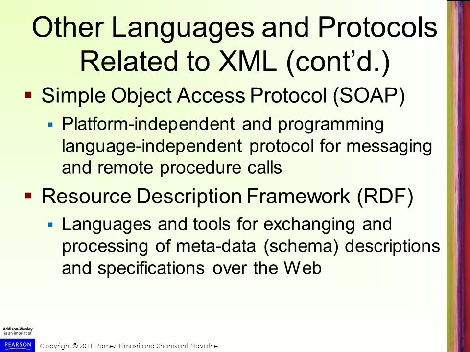 Other Languages and Protocols Related to XML (cont'd.)