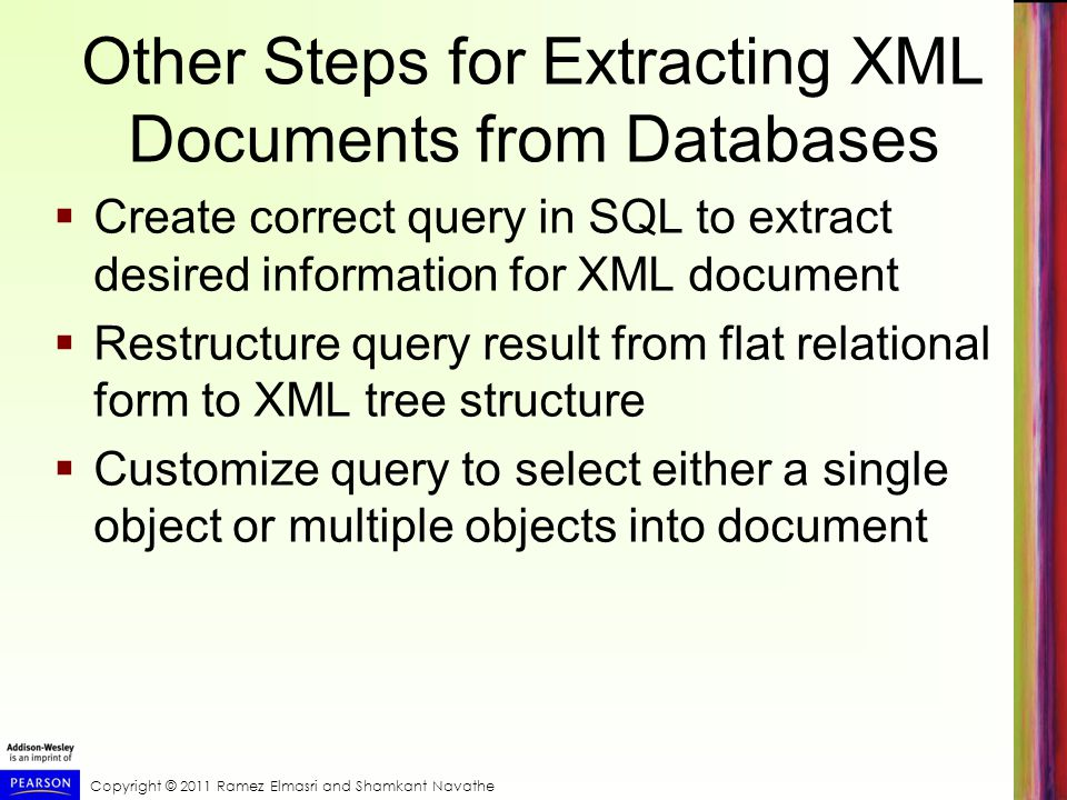 Other Steps for Extracting XML Documents from Databases