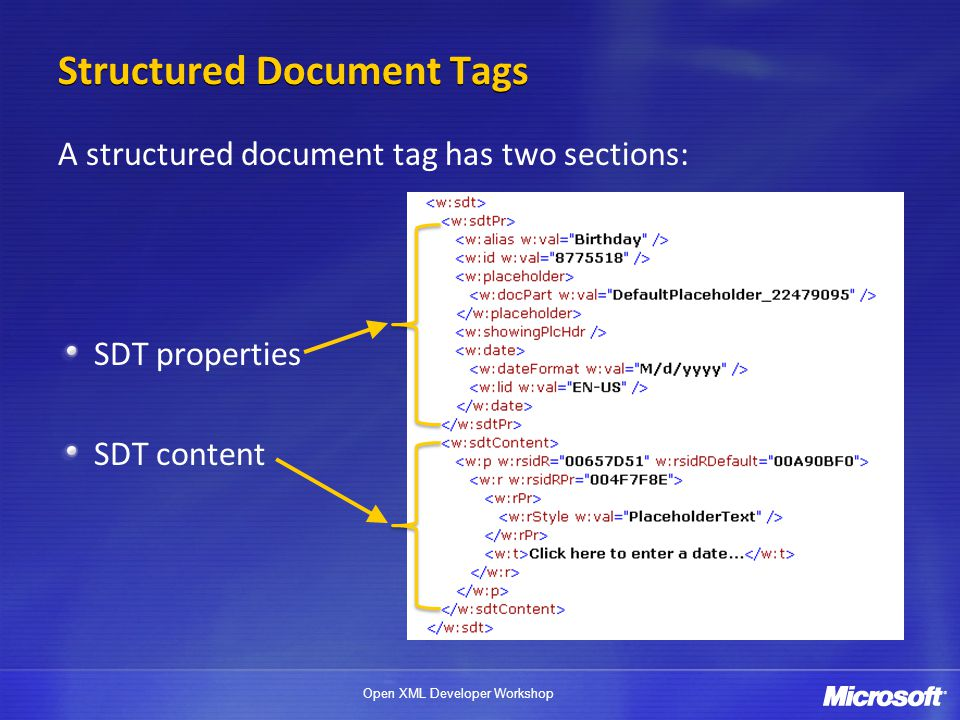 Structured Document Tags