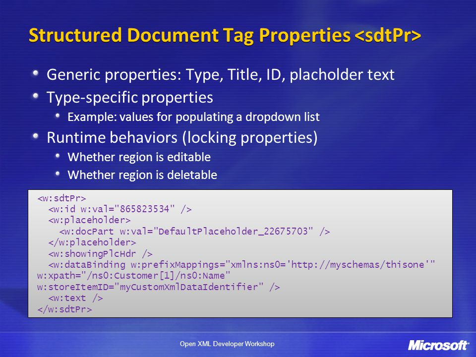 Structured Document Tag Properties <sdtPr>