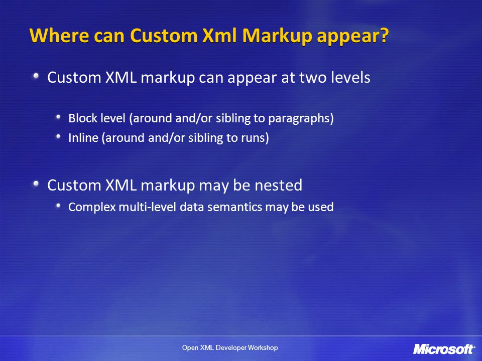 Where can Custom Xml Markup appear