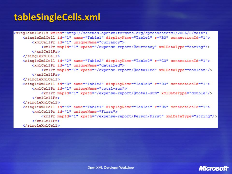 tableSingleCells.xml <singleXmlCell> is top level object (like the Table) <xmlCellPr> is like the table column-level properties.