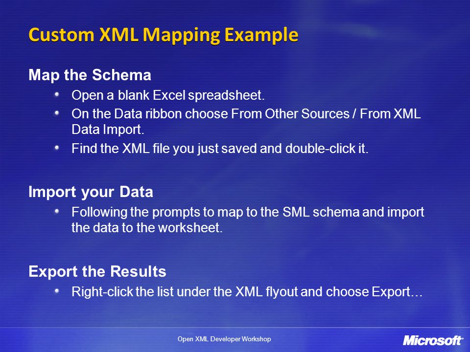 Custom XML Mapping Example