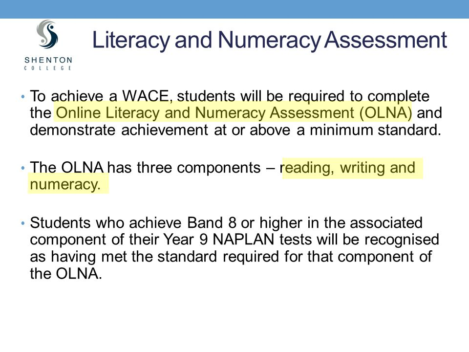 Literacy and Numeracy Assessment
