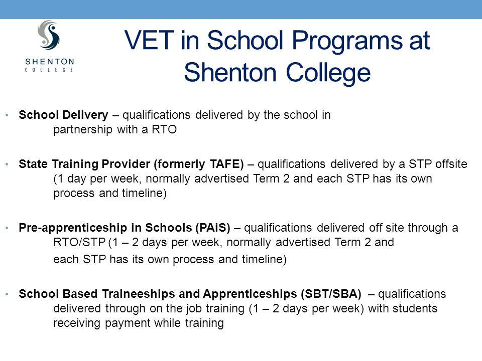 VET in School Programs at Shenton College