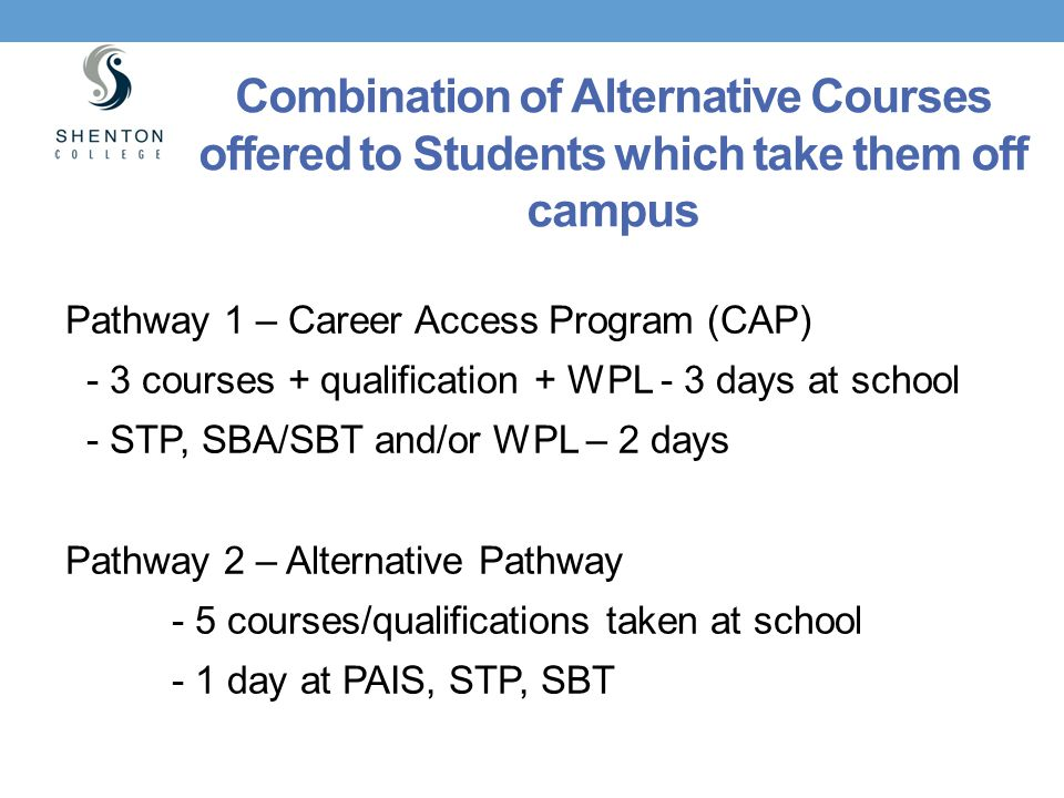 Combination of Alternative Courses offered to Students which take them off campus