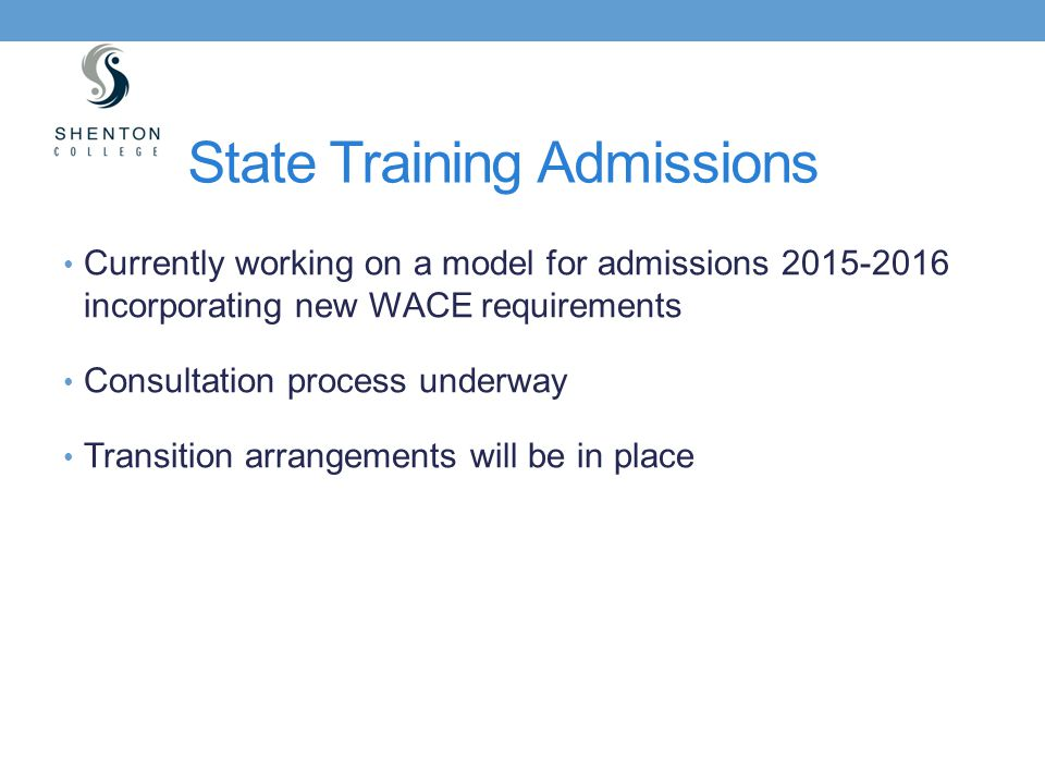 State Training Admissions