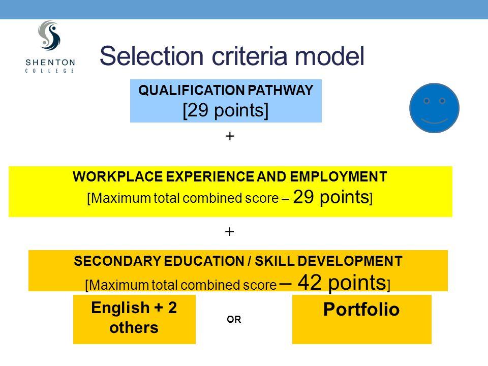 Selection criteria model