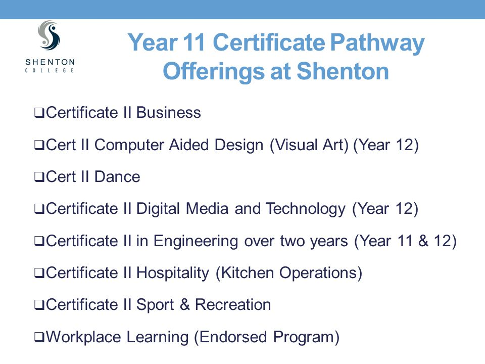 Year 11 Certificate Pathway Offerings at Shenton
