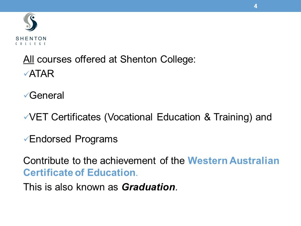 4 All courses offered at Shenton College: ATAR General