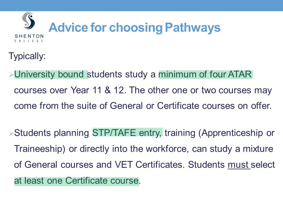 Advice for choosing Pathways