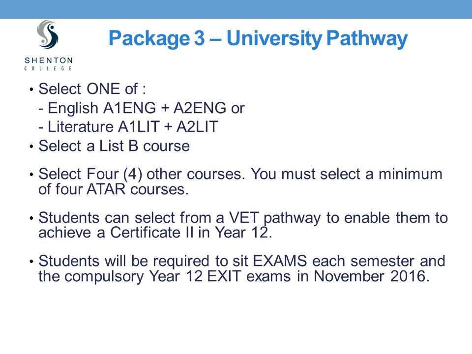 Package 3 – University Pathway