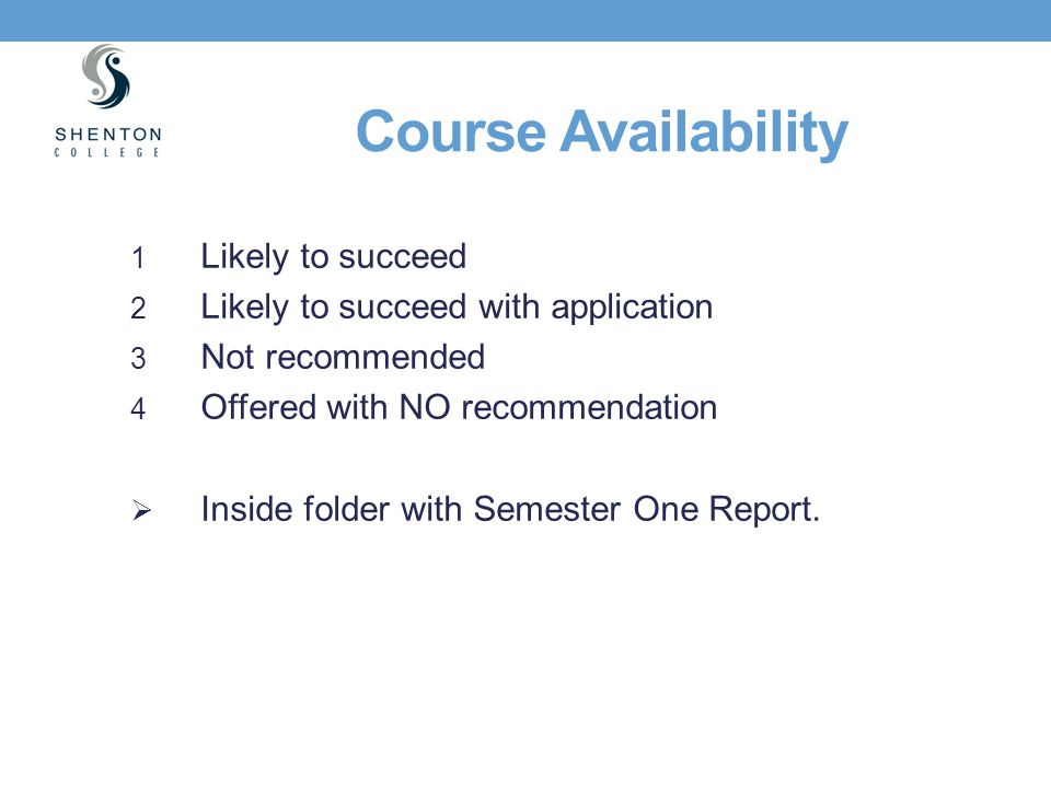 Course Availability Likely to succeed