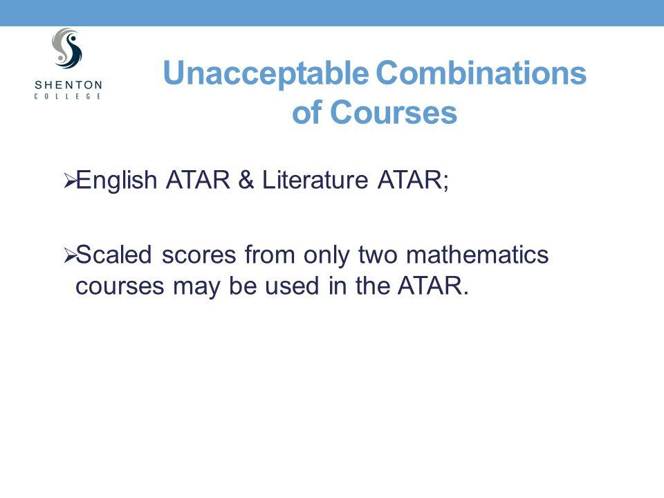 Unacceptable Combinations of Courses