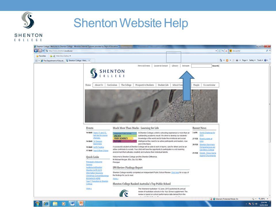 Shenton Website Help