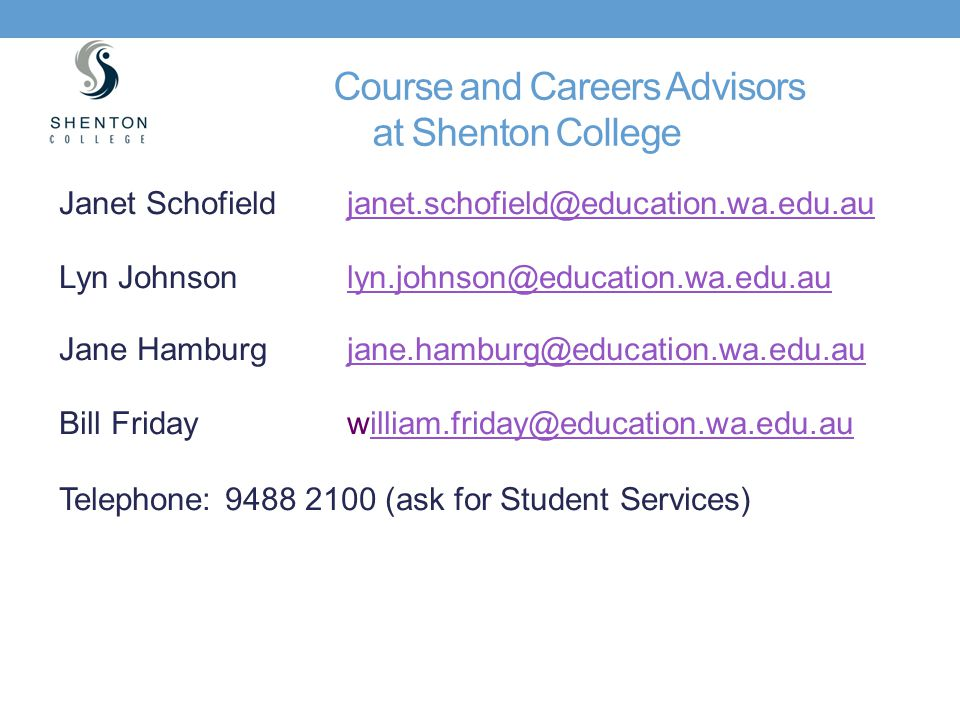 Course and Careers Advisors at Shenton College
