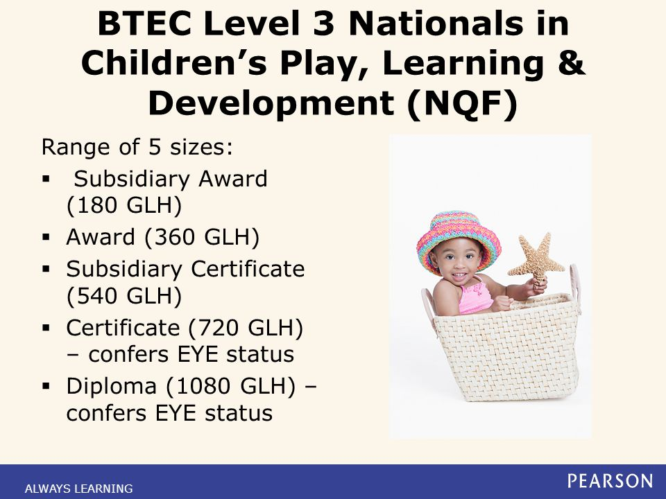 BTEC Level 3 Nationals in Children's Play, Learning & Development (NQF)