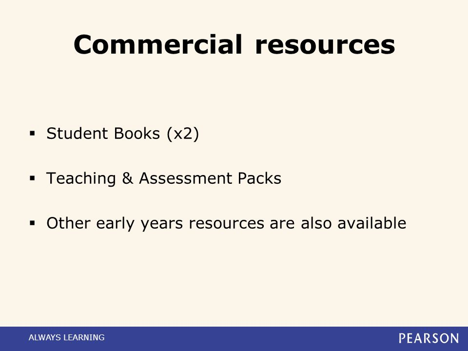 Commercial resources Student Books (x2) Teaching & Assessment Packs