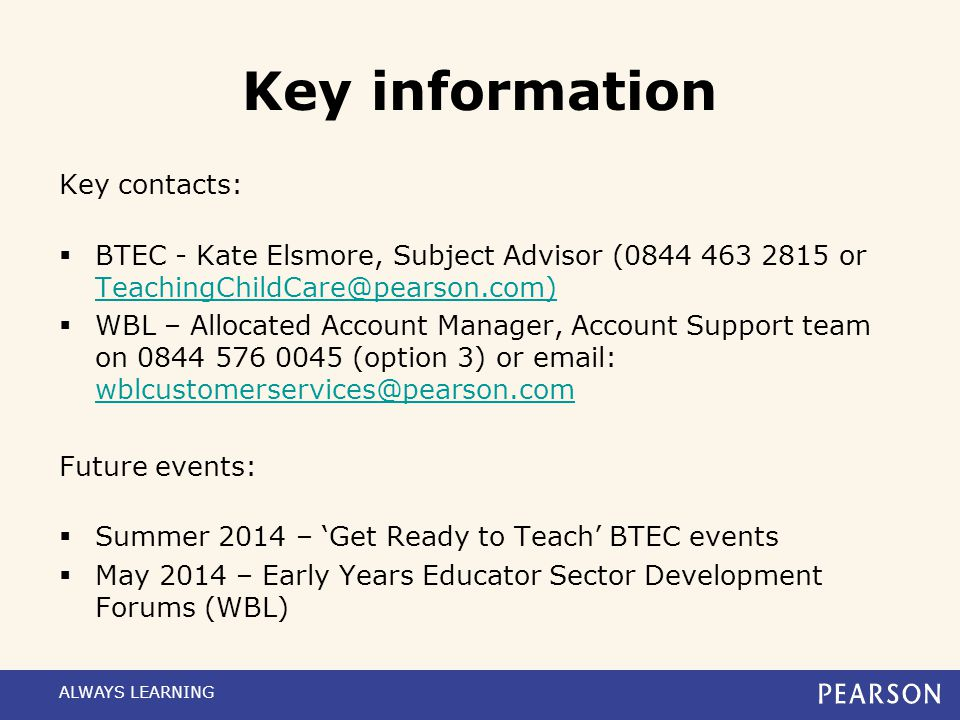 Key information Key contacts: