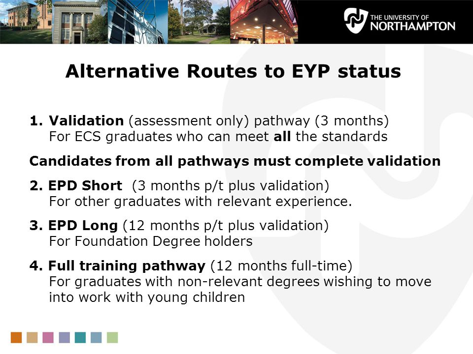 Alternative Routes to EYP status