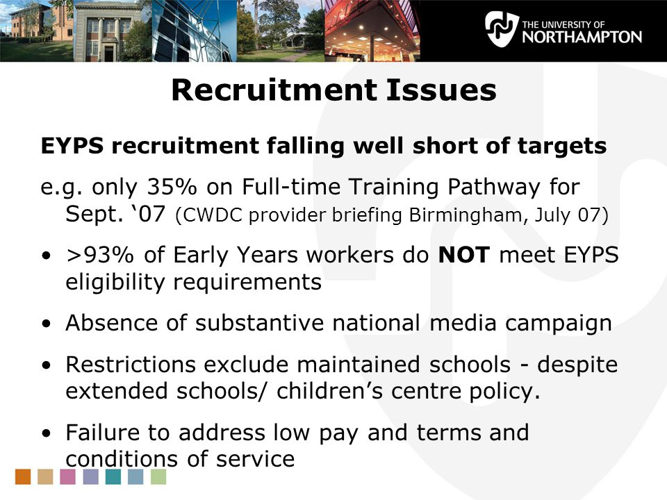 Recruitment Issues EYPS recruitment falling well short of targets