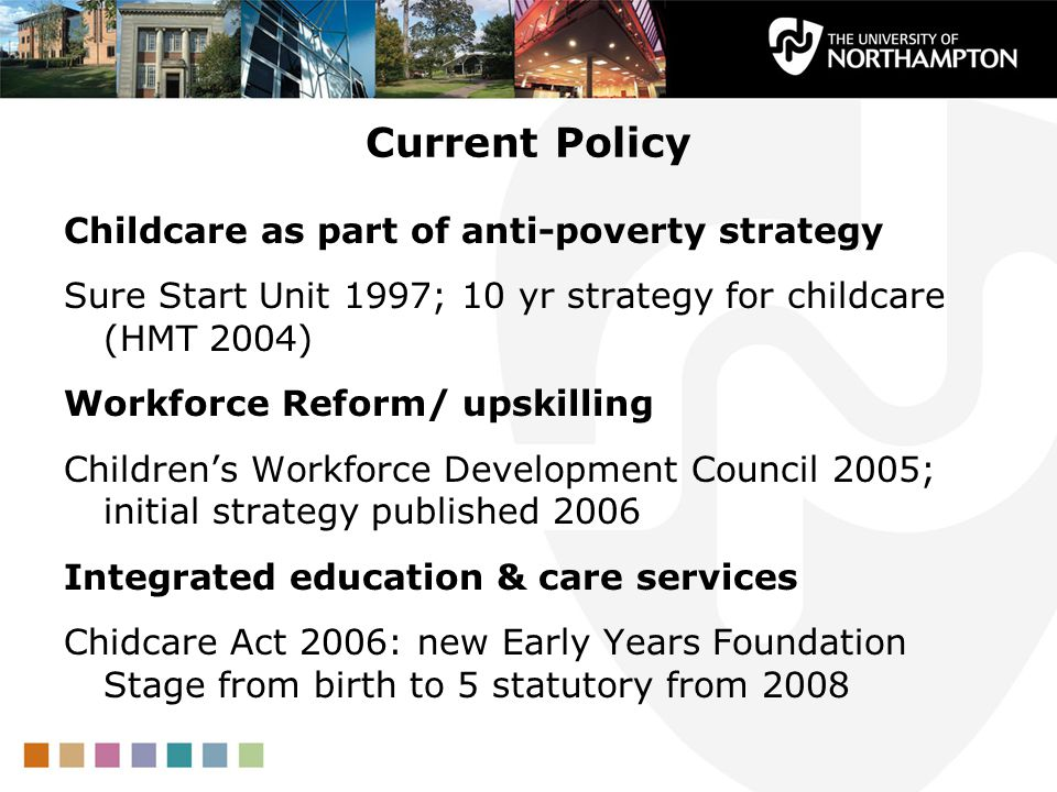 Current Policy Childcare as part of anti-poverty strategy