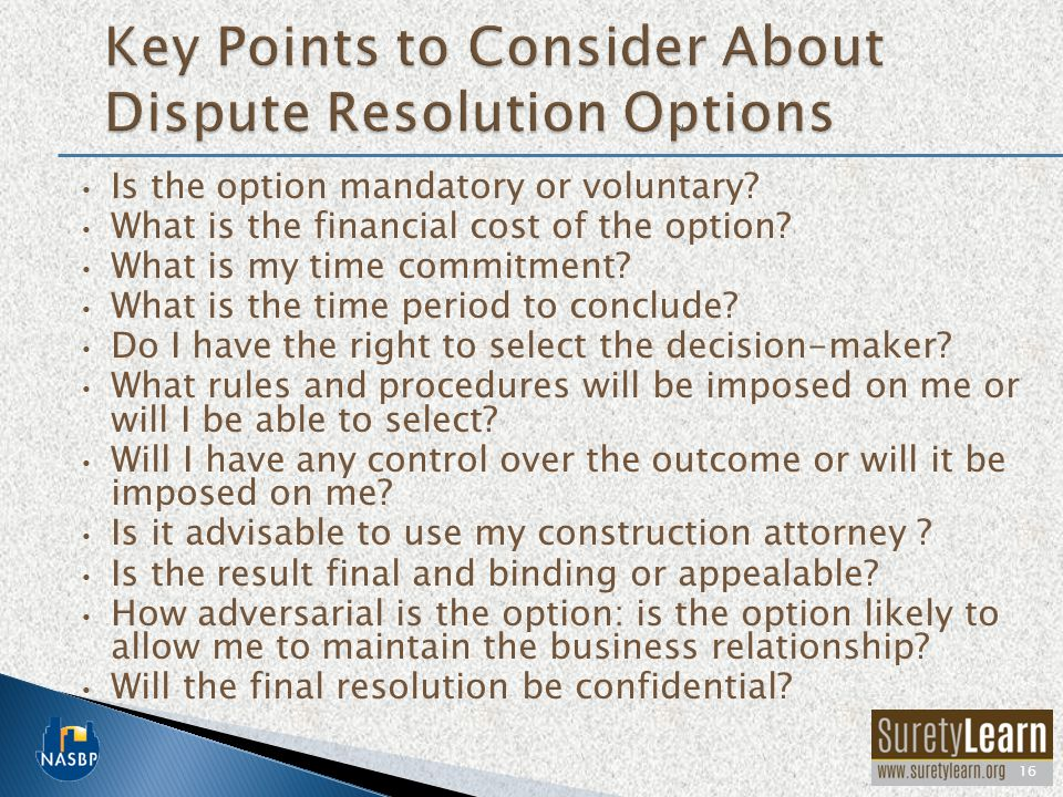 Key Points to Consider About Dispute Resolution Options