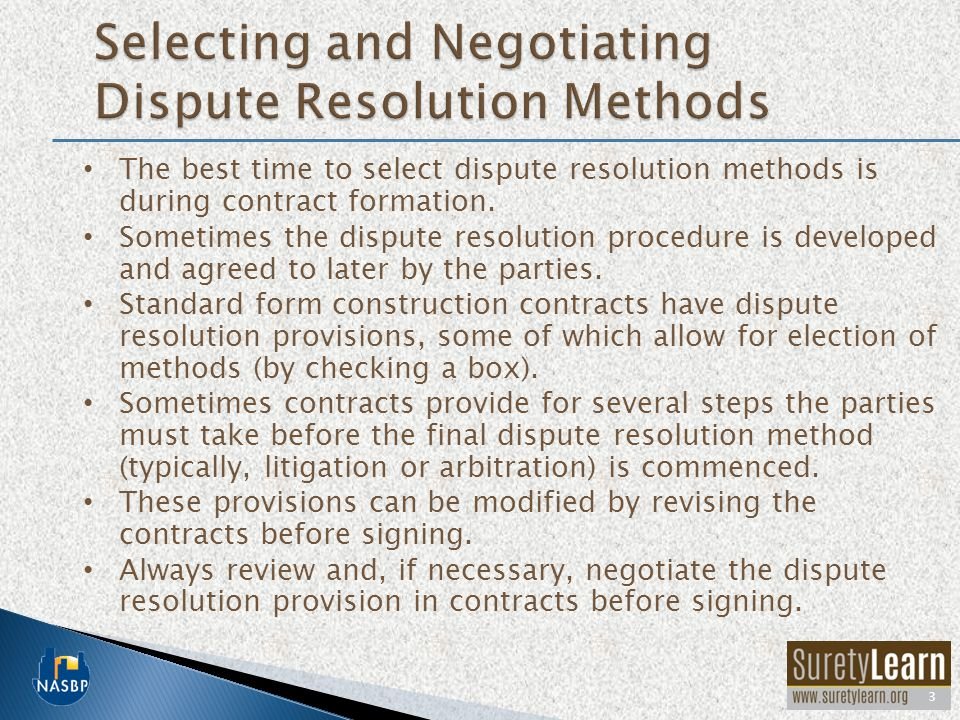 Selecting and Negotiating Dispute Resolution Methods