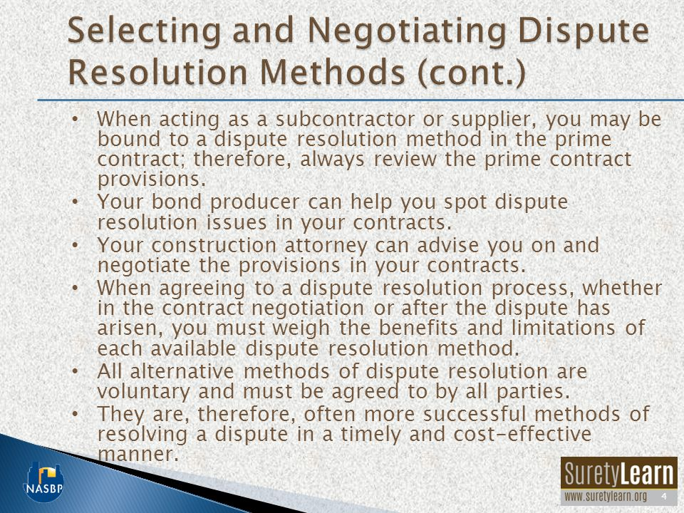 Selecting and Negotiating Dispute Resolution Methods (cont.)