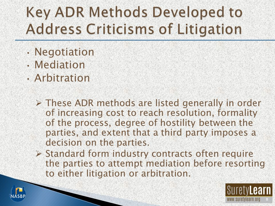 Key ADR Methods Developed to Address Criticisms of Litigation