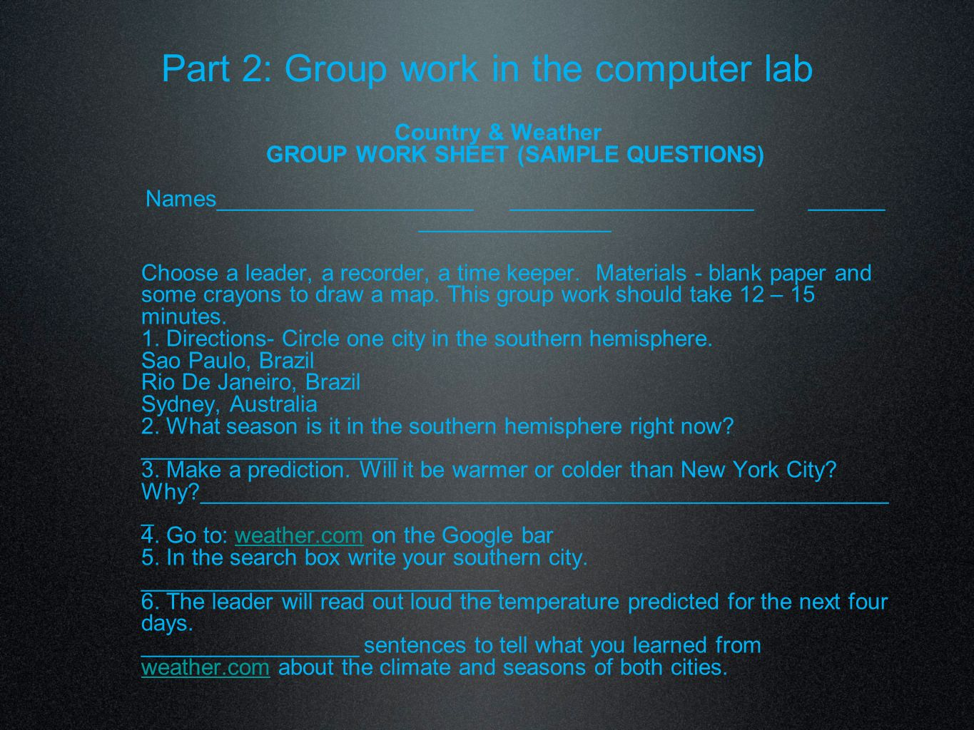 Part 2: Group work in the computer lab