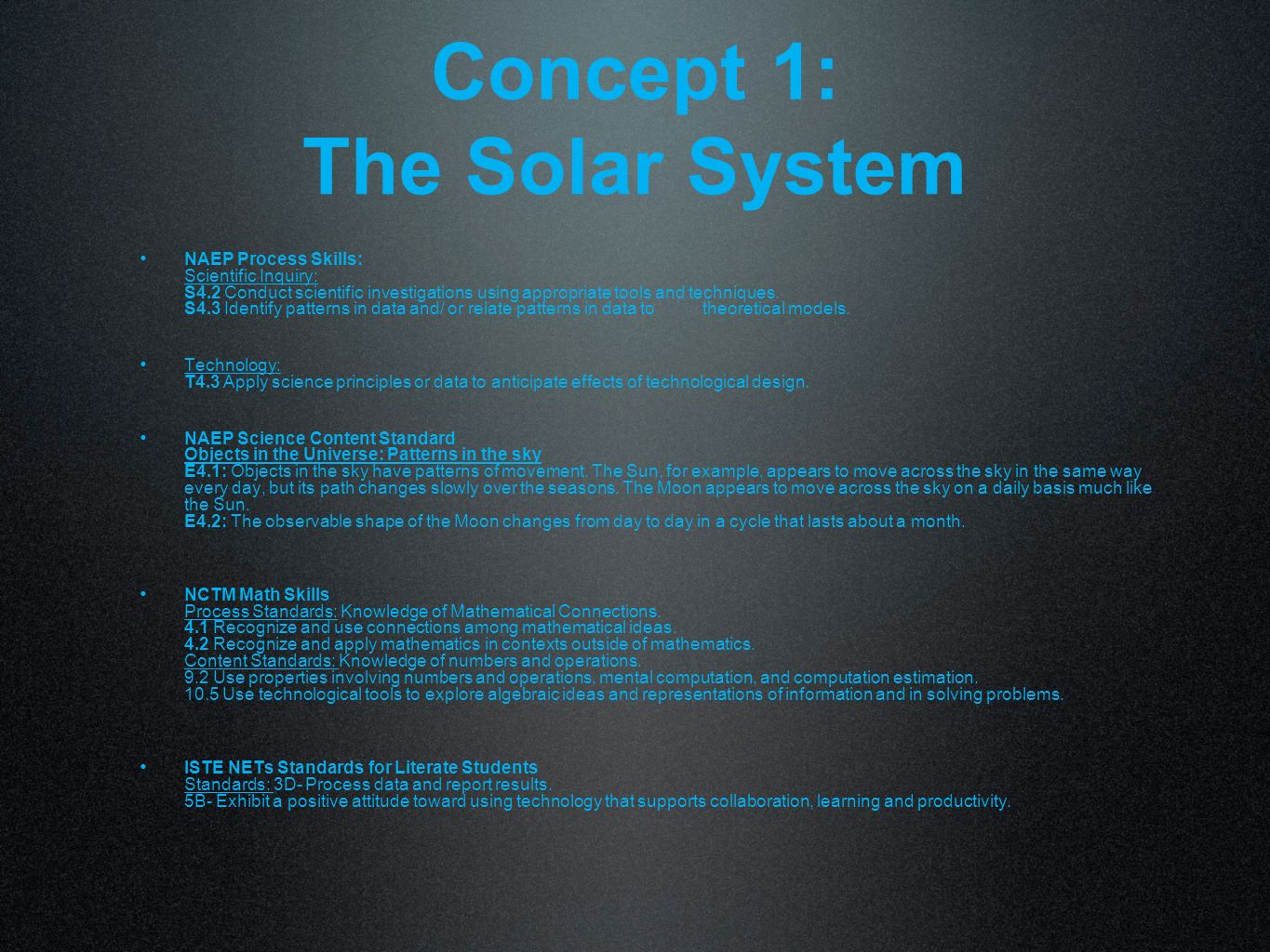 Concept 1: The Solar System