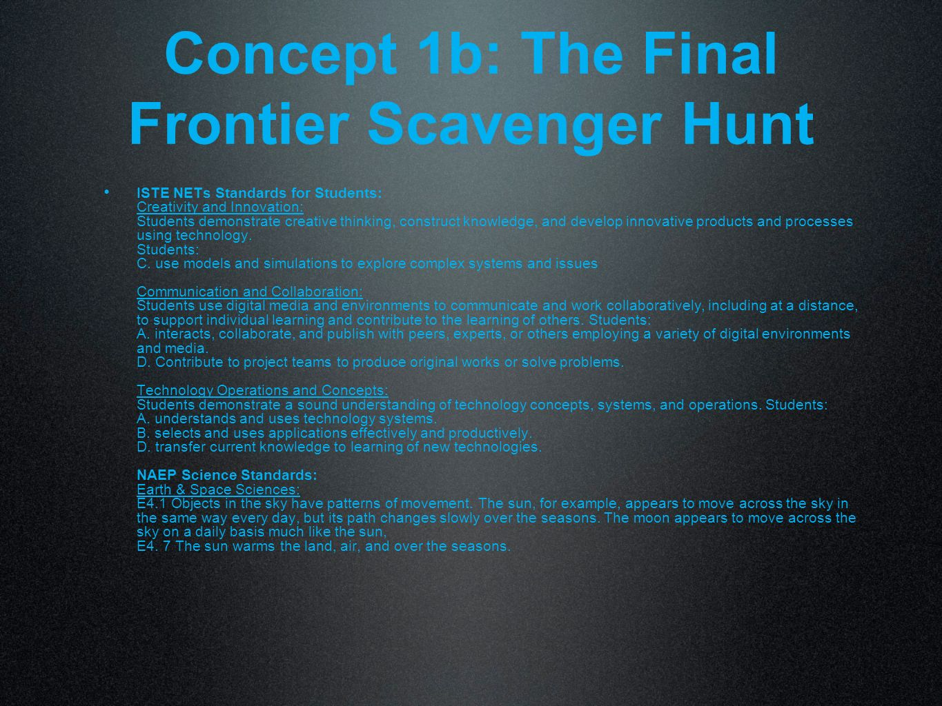 Concept 1b: The Final Frontier Scavenger Hunt
