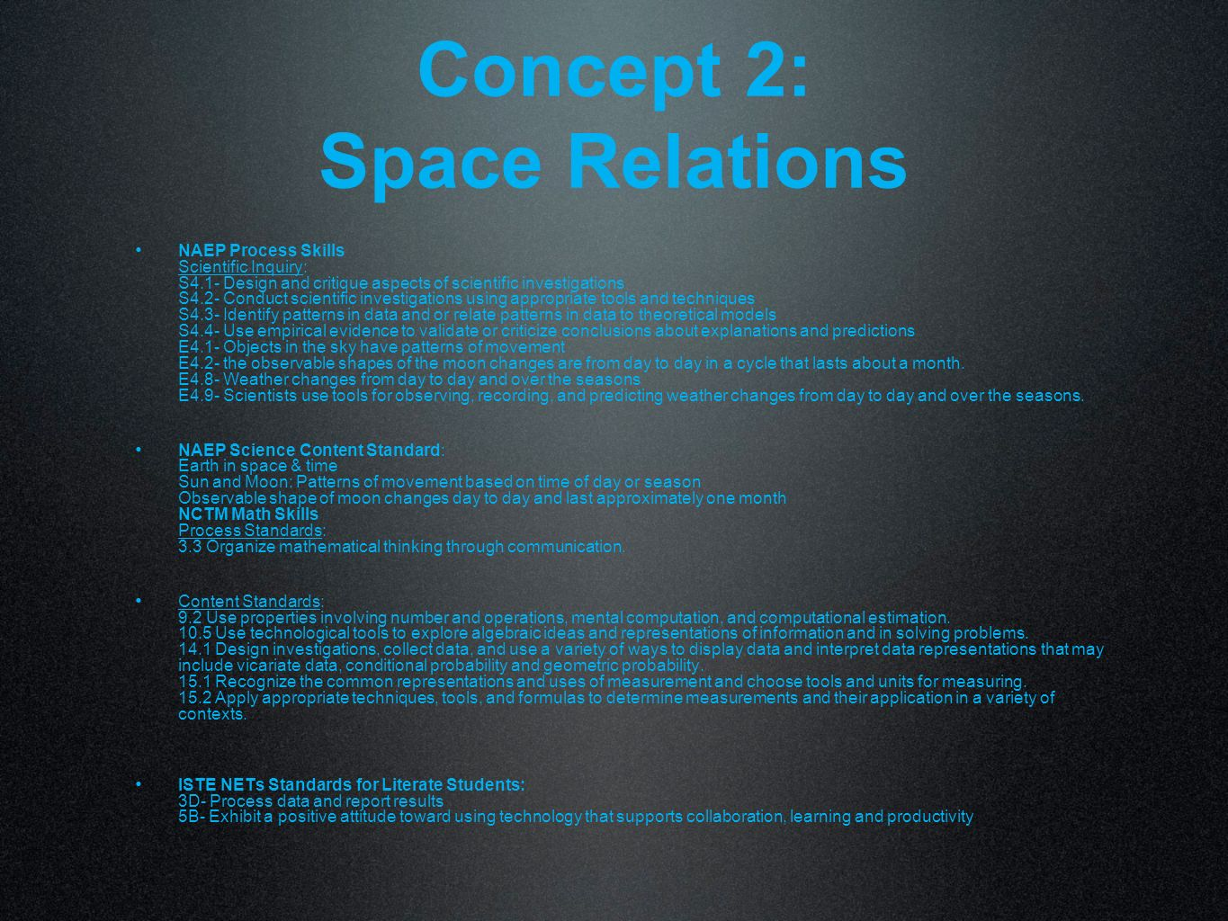Concept 2: Space Relations