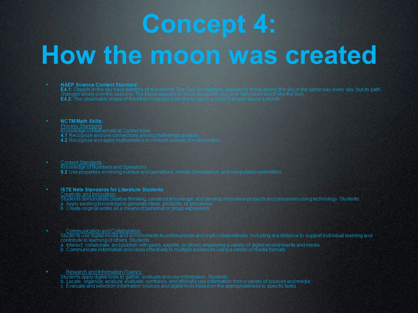 Concept 4: How the moon was created